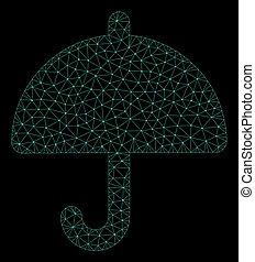 Mesh Umbrella in Polygonal Carcass Vector Style