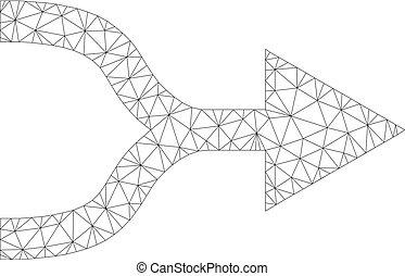 Mesh Vector Combine Arrow Right Icon - Polygonal vector...