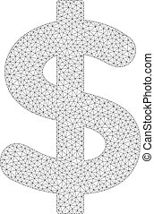 Mesh Vector Dollar Icon - Polygonal vector dollar icon on a...