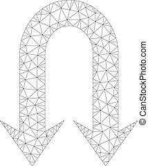 Mesh Vector Double Back Arrow Icon