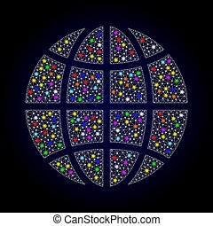 Mesh Wire Frame Globe with Colorful Light Spots