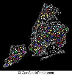 Mesh Wire Frame Map of New York City with Bright Light Spots