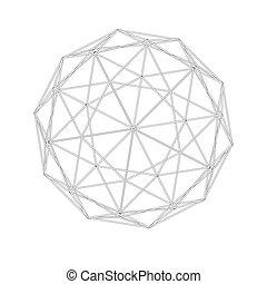 meshes., géométrie, grid., géodésique, sacré