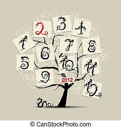 mesi, di, anno, draghi, stile, simbolo, di, 2012, per, tuo, disegno