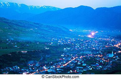 Mesmerizing landscape of night village