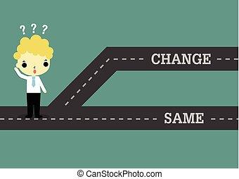 mesmo, passado, futuro, escolher, ou, mudança