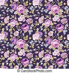mesquin, printemps, -, seamless, vecteur, modèle fond, floral, chic, fleurs