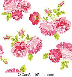 mesquin, -, seamless, vecteur, fond, floral, chic