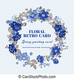 mesquin, vendange, -, vecteur, conception, floral, chic, carte