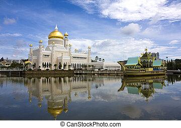 mesquita, ali, saifuddien, brunei, omar, sultão