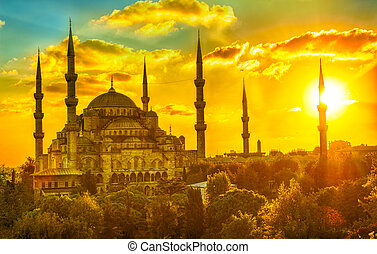 mesquita azul, em, pôr do sol