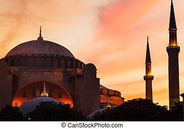 mesquita, em, pôr do sol