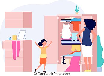 Mess in kids room. Happy girl serious mom. Wardrobe with clothes, woman and daughter measuring outfits. Free time with family, isolation period vector concept