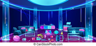Mess in nightclub after party vector concept