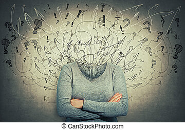 mess instead head losing brain - Surreal young woman head...