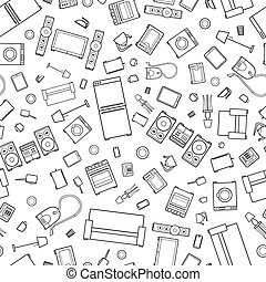 mess of outline icons of house appliance isolated on white seamless pattern