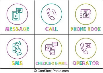 Message and phone book set vector illustration