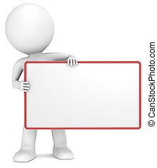 Message Board. - 3D little human character The Messenger...