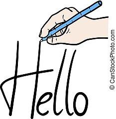 message, bonjour, dessin