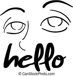 message, bonjour, illustration