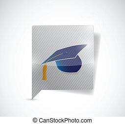 message bubble and graduation hat.