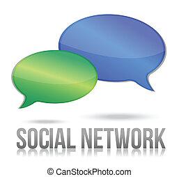 message, bulle, réseau, social