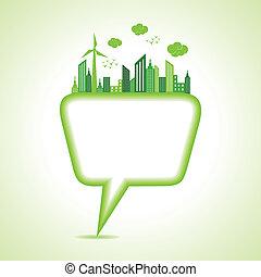 message, concept, bulle, écologie
