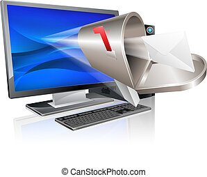 message, concept, informatique, email