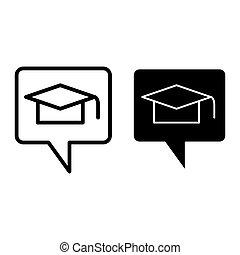 message, conception, glyph, toile, style, isolé, diplômé, parole, chapeau, 10., illustration, white., ligne, contour, bulle, casquette, eps, remise de diplomes, app., vecteur, icon., conçu