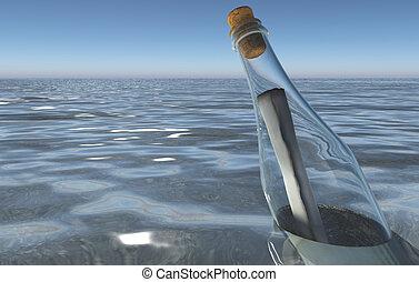 message dans bouteille, dans, les, mer