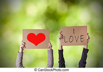 message, de, amour