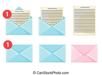 Message dialog letter icon set Flat design style vector illustration.
