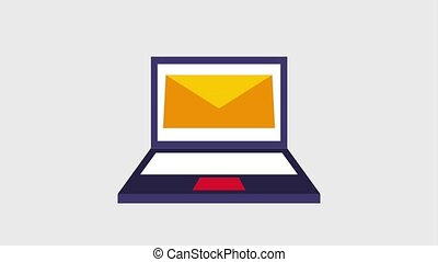 message e mail on laptop screen icons animation design