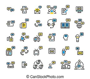 Message filled outline icon set. Vector and Illustration.