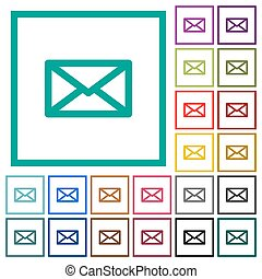 Message flat color icons with quadrant frames