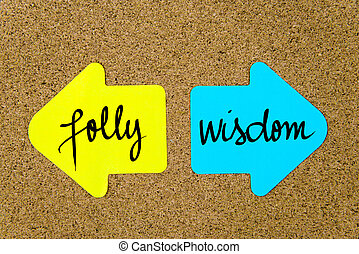 Message Folly versus Wisdom on yellow and blue paper notes as opposite arrows pinned on cork board with thumbtacks. Choice conceptual image