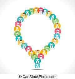 message, gens, bulle, coloré, icône