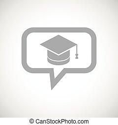 message, gris, remise de diplomes, icône