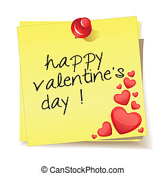 message happy valentine's day - Yellow stick note with the...