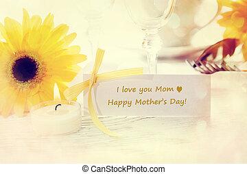 message, heureux, jour, carte, mères