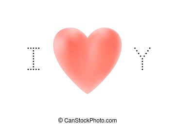 Message I love you. Red heart Valentine Day on a white background for greeting card. Vector illustration.
