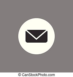 Message icon, email, letter sign, black on white gray background. Vector flat illustration.