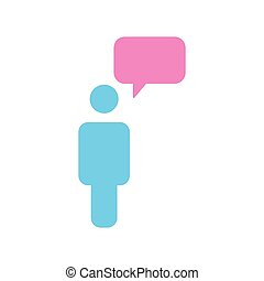 Message Icon Person With Chat Speech Bubble, vector illustration isolated on white background.