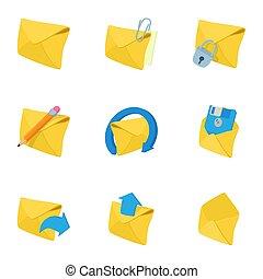 Message icons set, cartoon style
