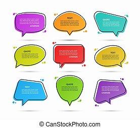 message, illustration., autocollants, citation, vecteur, boîtes, arrière-plan., bulles, parole, isolé, texte, blanc, ensemble, ballons