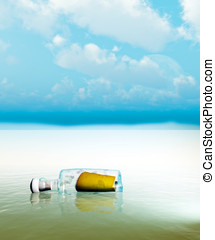 Message in a bottle washed up on the sands of distant island...