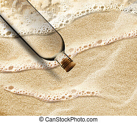 Message in a Bottle - empty Bottle in the beach sand with...