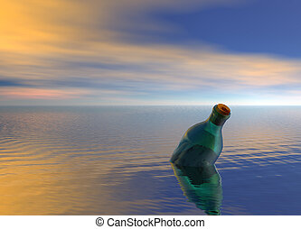 Message in a Bottle Floating on Ocean - Message in a Green...