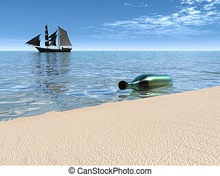 Message in a bottle lying at the waterside. - A bottle with...