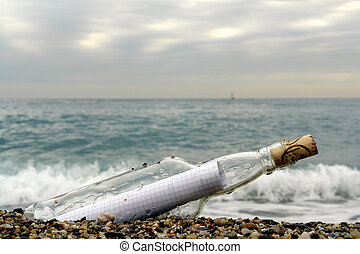 message in a bottle on a beach